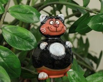 Winter-proof ceramic decoration for home and garden 'Black cat' H18cm. Handmade by © Midene (GKR12Blc)