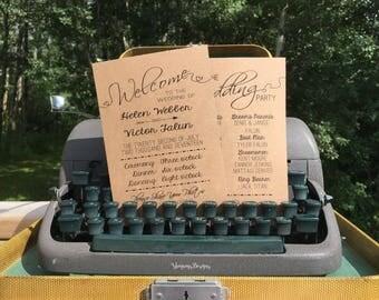 Kraft Wedding Program Printable // Rustic Wedding Program Template // DIY Wedding Fan Digital File // Elegant Ceremony Order of Service