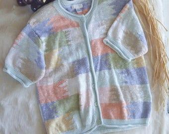 Vintage Pastel Short Sleeve Knit Size Small Christopher & Banks Cardigan
