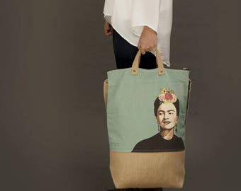 frida kahlo print, frida kahlo bag, frida kahlo tote bag, frida kahlo gift, frida kahlo market bag, frida kahlo illustration
