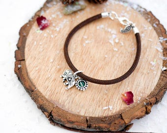 Elephant Vegan Bracelet • Valentines silver charm jewellery jewelry gifts present for wife girlfriend, boho, indian, ganesh, travel, blue