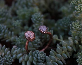 Lavender Quartz | Diamond Hill Quartz | Mushroom Jewelry | Mushroom Ring | Mushrooms | Copper Ring | Quartz Ring | Ready-To-Ship