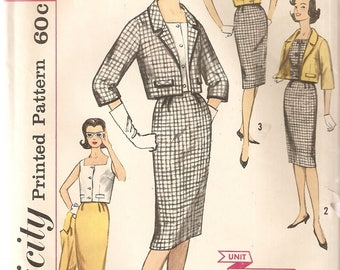 VINTAGE Simplicity Sewing Pattern 3357 - Women's Clothes - Jumior & Misses Jacket, Skirt and Top, Size 11