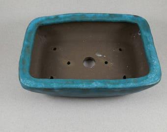 Turquoise over Dark Brown Stoneware Bonsai Pot - Handbuilt Small Planter with Holes - Slab Built Succulent Planter