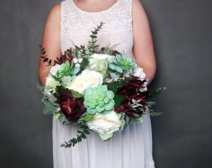 Big wedding bouquet realistic silk flowers burgundy ivory green succulents dusty miller greenery roses hydrangea peony eucalyptus elegant