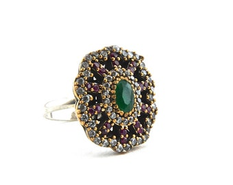 turkish ring traditional ottoman 925 sterling silver ring green emerald gemstone red - Turkish Wedding Ring