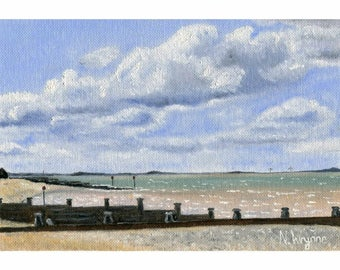 Original miniature oil painting, 'Whitstable Beach', Seaside Artwork