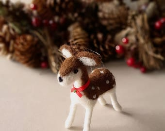 deer, rustic home decor fawn, needle felted animal, christmas ornaments, woodland baby shower gift idea, farmhouse decor, cute tree ornament