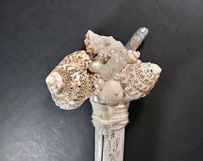 Crystal Quartz, Calcite, Kyanite, Pearl and Shell Small Staff. Coastal Nature Staff. Mermaid Staff.