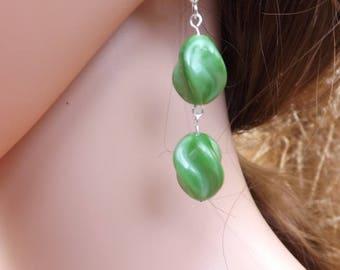 Czech glass earrings, green earrings, swirly earrings, glass earrings, summer earrings, Boho earrings, Festival jewellery, light green