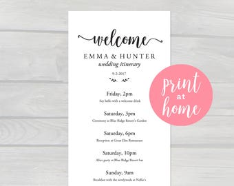 wedding weekend itinerary template printable pdf 375x10 instant download editable schedule of activities