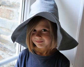 witch hat, wizard hat, felt hat, grey felt hat, halloween hat, halloween costume hat