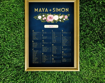 FRANKIE . Alphabetical Seating Chart Large Printed Wedding Sign . Rose Garland White Green Branch Blush Pink . Modern Gold & Navy Chalkboard