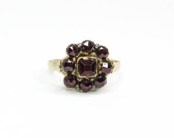 Antique Early Victorian Bohemian Garnet Conversion Ring in 8ct Yellow Gold