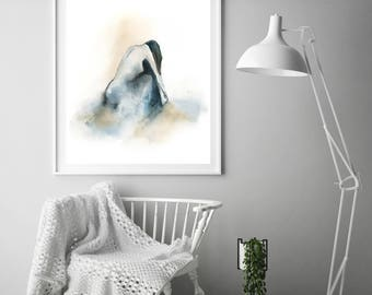 Female figure art print, minimalist watercolor painting print, woman figurative wall art print, modern figure painting