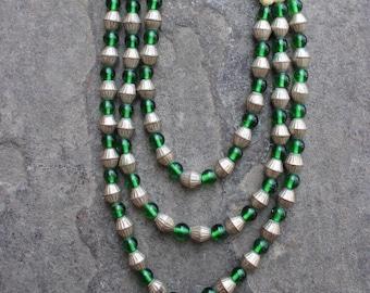 Asymmetrical Multi-Strand Vintage Glass Bead Necklace