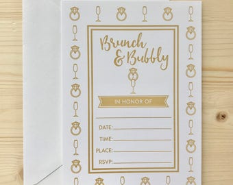 Brunch and Bubbly Bridal Shower Invitation | fill-in-the-blank