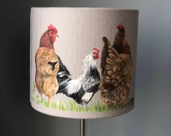 Rooster and Chickens 20cm diameter lampshade