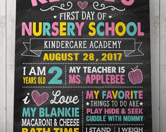 First Day of Nursery School Sign - First Day of School Chalkboard Sign - 1st Day of School Sign - First Day of Daycare Sign - Printable file