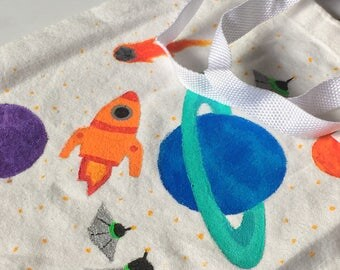 Space Hand Painted Tote Bag