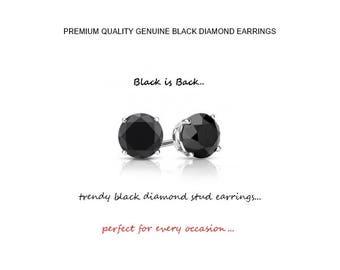 0.50 Carat Genuine Black Diamond Stud Earrings in 14K Gold