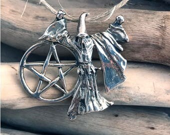 925 Sterling Silver Wizard Magician Merlin with Pentagram Pendant Necklace Wiccan, Spiritual Jewelry, Pentacle Pendant, Pagan VAR050