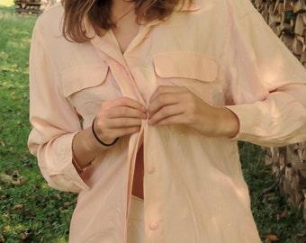 vintage blouse, 100% silk, peach color, size medium