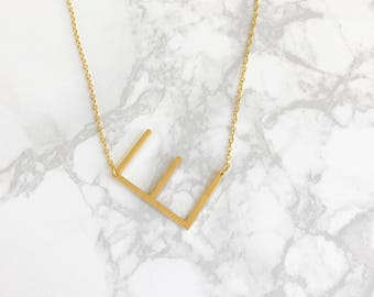 Large initial necklace, initial necklace, big initial necklace, sideways initial necklace, oversized initial necklace, personalized necklace