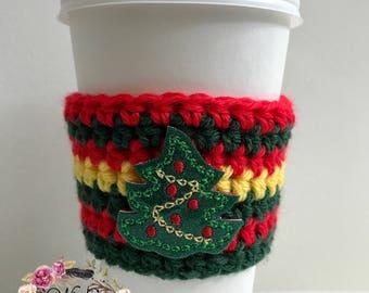Christmas Tree Cozie / Cozies / Coffee Cozie / Tea Cozie / Tumbler Cozie / Crochet Cozie