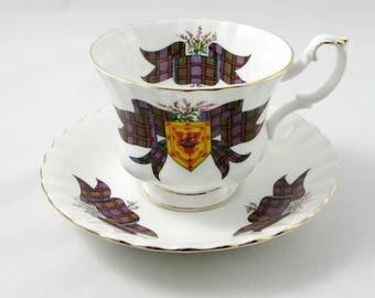 """Royal Albert """"MacDonald"""" Tartan Tea Cup and Saucer, Scottish Tartan Series, Vintage Bone China"""