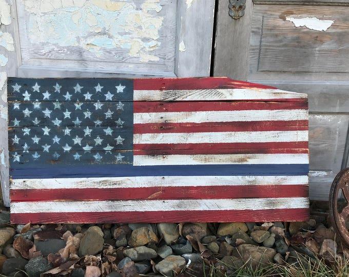 Rustic Wood Blue Line American Flag, Wood Flag,  Pallet Flag, Rustic Wall Decor, Farmhouse decor, Rustic Flag, Garden, Porch Flag, Police