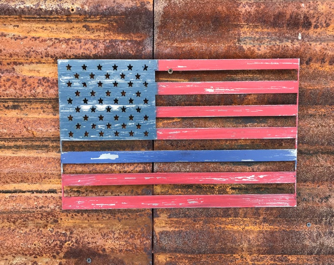 Rustic Metal American Flag, Blue line Rustic Flag Sign, Rustic Wall Decor, Farmhouse decor, Garden, Porch Flag, Home Wall decor, Police flag