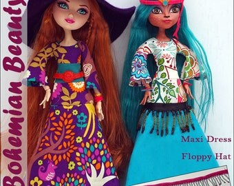 "BOHEMIAN BEAUTY Maxi Dress and Hat Doll Clothes Sewing Pattern for 10.5"" - 11.5"" Fashion Dolls like Monster High - Instant PDF Download"