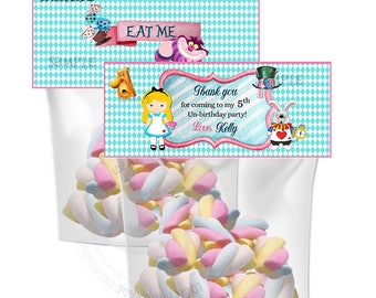 Alice in Wonderland Customized Printable Bag Toppers- D.I.Y Tags- Alice favor - candies bag toppers- 2 sided