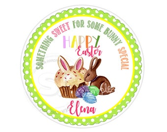 "Custom Easter Printable 2.5"" Tags-Happy Easter Sweets D.I.Y Tags- Personalized Stickers (You Print) 2.5"" tags-Digital file"