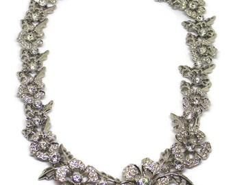Magnificent Nolan Miller Intricate Silver And Rhinestone Floral Necklace Bridal Necklace Rhinestone Necklace Boho Style Art Deco Jewelry