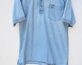 Denim Polo Shirt / Men's MEDIUM / Big Dogs- Stonewashed Denim / 90s Vintage / Free Shipping
