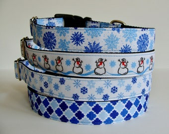 READY TO SHIP! Christmas Dog Collars Snowflake, Snowman, Winter - Blue