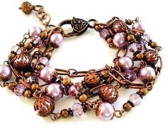 Purple Bracelet Pearl Jewelry Vintage Style Copper Bracelet Purple Jewelry Multi Strand Pearl Bracelet Bohemian Bracelet Statement Jewelry