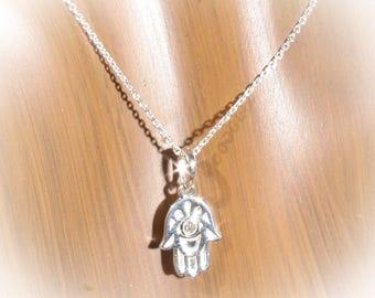 14K White Gold .03 CTW Diamond Hamsa Hand Necklace Design 18 inches, Hand of Fatima