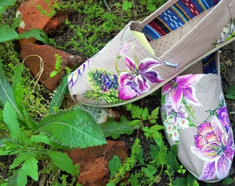 Hand Painted Floral Bouquet Custom Canvas Shoes