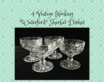 "4 Vintage ""Waterford"" Crystal Sherbets by Hocking Glass Ice Cream Sundae Dishes"