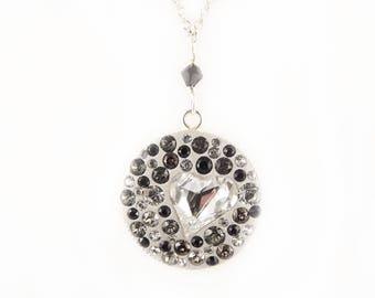 Collier Argent 925, Cœur Cristal de Swarovski Gris et Noir, Collier femme argent, Collier strass, Collier Cœur Cristal