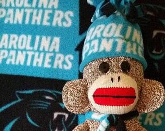 Carolina Panthers Sock Monkey, Panthers Sock Monkey, Handcrafted Monkey, Sock Monkey for Sale
