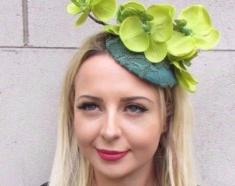 Dark & Lime Green Orchid Flower Fascinator Hat Races Clip Elastic Hair Lace 3418