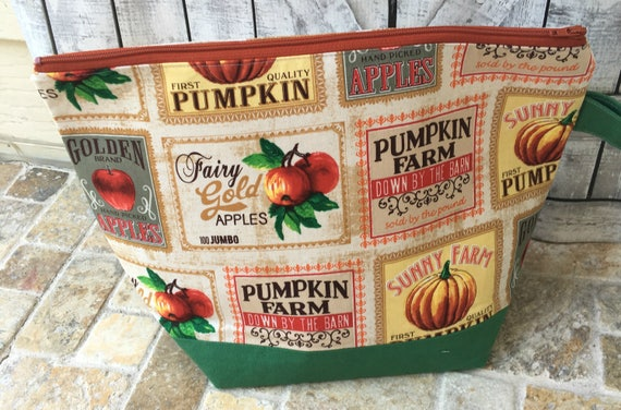 Project Bag,Medium knitting Project bag,Pumpkin knitting bag,Sock Bag,crochet project ,knitting bag,Toad Hollow Bag,Wedge Bag,Knitter gift