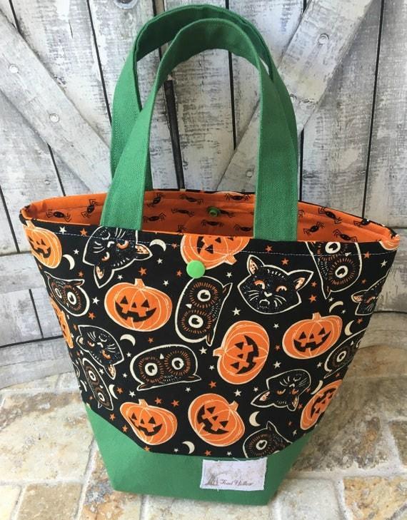 Mini Tote Bag-Halloween Fabric Knitting Bag,Sock Tote Bag,Vintage Halloween Masks,Crochet Project,Knitting Project Bag,Toad Hollow bags