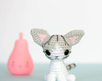 Tabby cat plush, Crochet amigurumi cat, Crochet plush cat, Grey cat, Tiny crochet cat, Mini amigurumi crochet animals, Cute plush animals