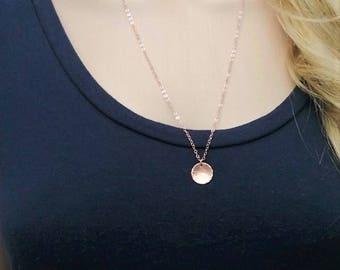 14Kt rose gold-filled hammered disc necklace; rose gold disc necklace; long rose gold necklace; hammered circle necklace