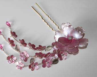 Japanese Tsumami Kanzashi Pink Flowers Resin Hair Stick Fork Wedding Accessories Sparkling with  Swarovski Crystals